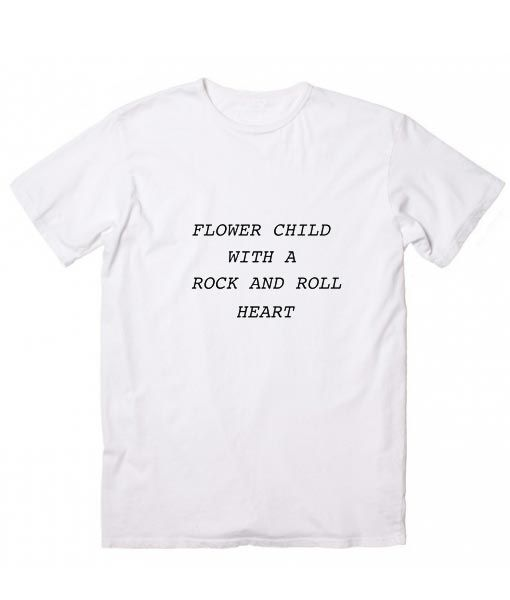 cf2c4dae1 Flower Child Rock & Roll Heart T-Shirt. Girls Thoughts and Feelings,