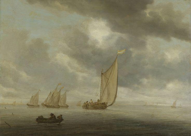 Salomon van Ruysdael, Zeilschepen op breed binnenwater,  1630 - 1670