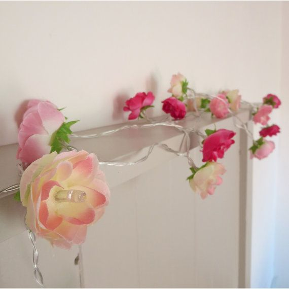Pretty in Pink Fairy Lights Rambling Roses String by PamelaAngus
