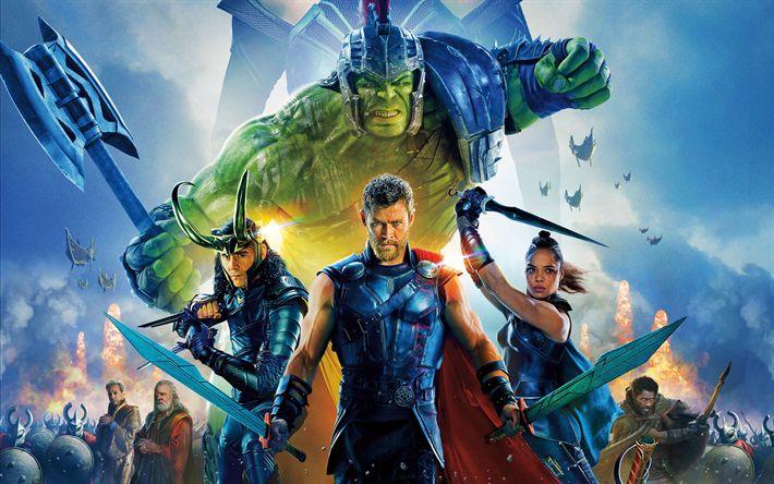 Download imagens Thor De Ragnarok, 2017, cartaz, 4k, todos os atores, American filme de fantasia, Hulk, Chris Hemsworth, Cate Blanchett