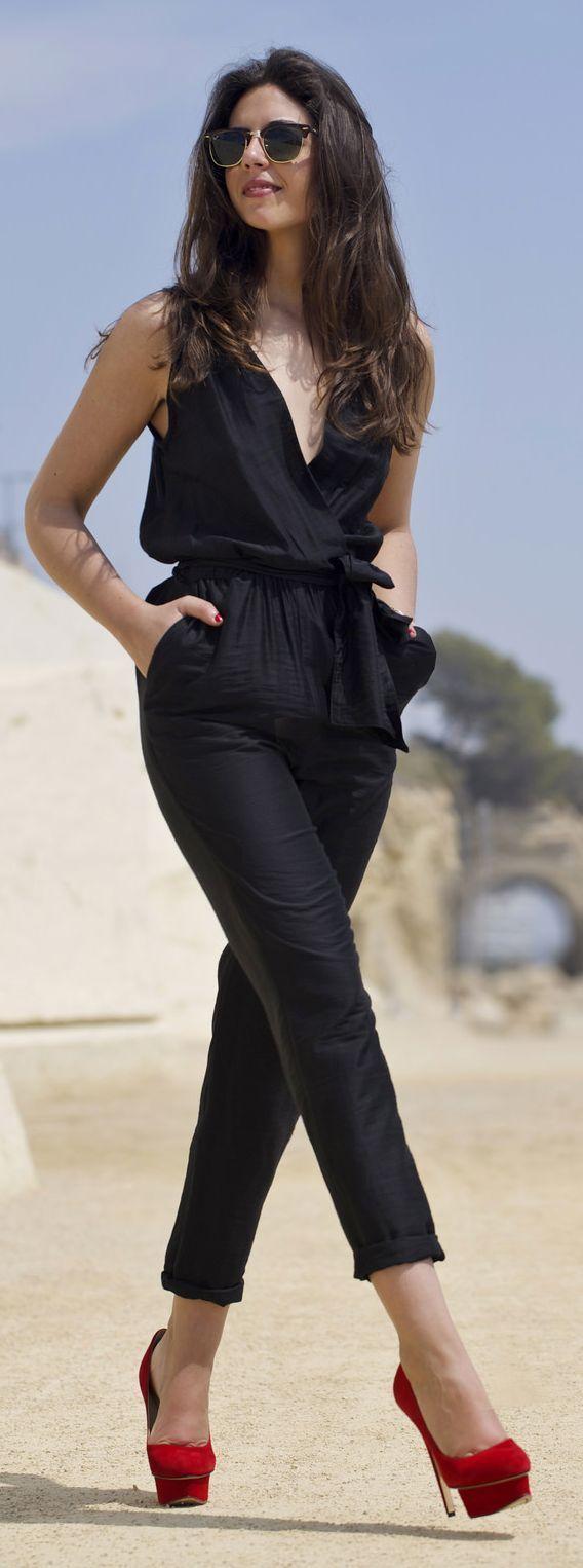 Black Jumpsuit Red Platform Pumps Outfit Idea