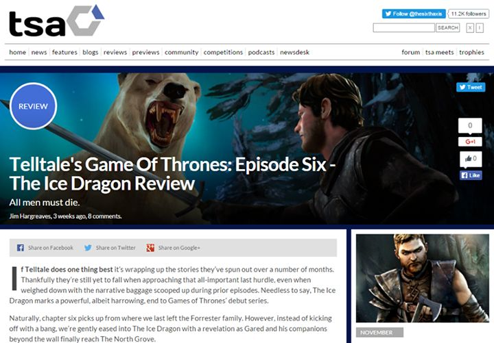 """PERFECTLY CAPTURES THAT GAME OF THRONES VIBE"" TheSixthAxis reviews Episode 6 'The Ice Dragon'   Read more: http://www.thesixthaxis.com/2015/11/19/telltales-game-of-thrones-episode-six-the-ice-dragon-review/ #GOT #GameOfThrones #SevenKingdoms #WinterIsComing #FireAndBlood"