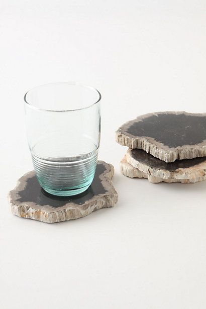 Petrified wood coasters.  These are so cool and gorgeous.  Ingenious, really.  Stone Forest Coasters in neutral motif.