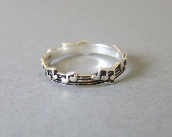 Tiny Sterling Silver Music Note Ring, Music Ring, Everyday jewelry, Simple Ring, Note Ring
