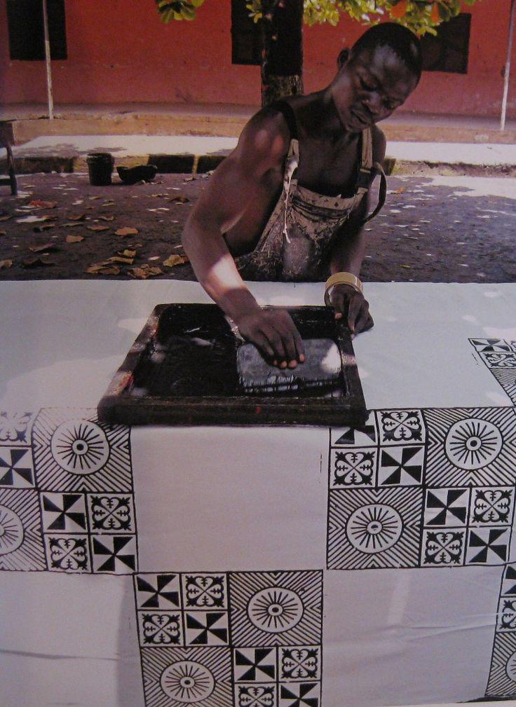 eleanordart: Ghana - Silk Screen Printing - 2010 Adinkra cloth.