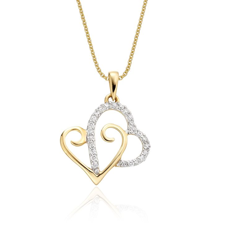 This elegant yellow gold diamond pendant has 0.12ct round diamonds. The pendant features two interlocking hearts with an elegant line of micro-set diamonds. This necklace is made in 9K yellow gold and is available complete with a beautiful mirror trace chain or if you already have a chain then you have the option to buy just the pendant.