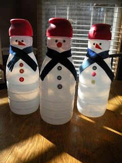 Coffee Creamer Snowmen - I always thought something could be made with all of those bottles I put in the recycling. I'm happy to see that someone came up with this cute craft. You could even light them up from the inside with a strand of clear Christmas lights.