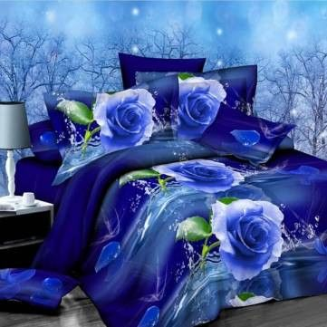 FREE SHIPPING! 4pcs Suit Polyester Fiber 3D Blue Rose Flower Reactive Dyeing Bedding Sets Queen Size SKU283268