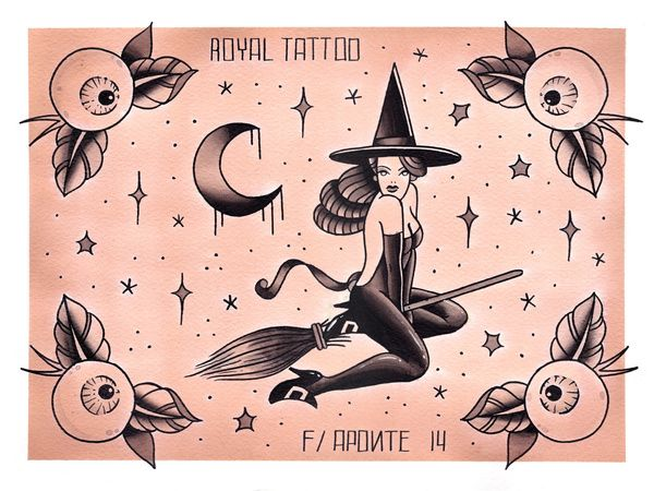 Halloween Tattoo Flash Art Print (i love the moon design) -ai