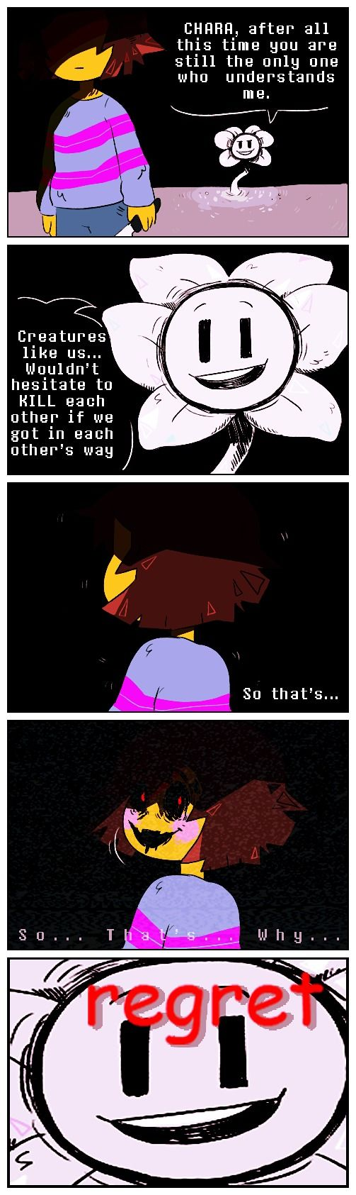 Frisk (Chara) and Flowey #comic