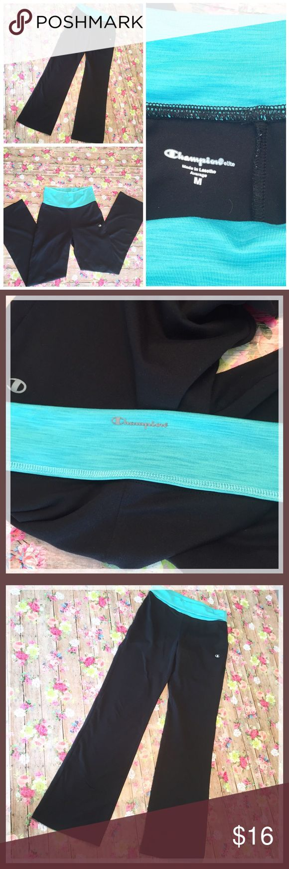 Champion Elite Teal Waist Athletic Pants Women's size medium champion elite teal waistband stretch pants. Band is made to be rolled down over the waist. Made from polyester and spandex blend these are super stretchable and soft for comfort. Features the champion logo on the outer leg and a little bit of flair on the bottom legs. Measurements are: Rise- 12 inches. Waste is 13 inches and inseam is 30 inches. Measurements include the top of the waistband completely flat and not rolled. Champion…