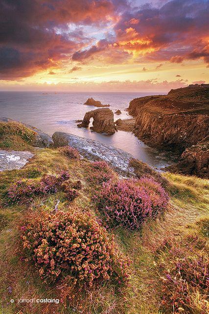 Sunset over Land's End, Cornwall, England, UK.