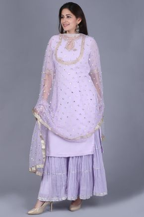 718c406938 anokherang   Lavender Georgette Short Kurti with Gathered Sharara and  Sequence Pear   Ethnic Fashion in all sizes from XS to Plus Sizes