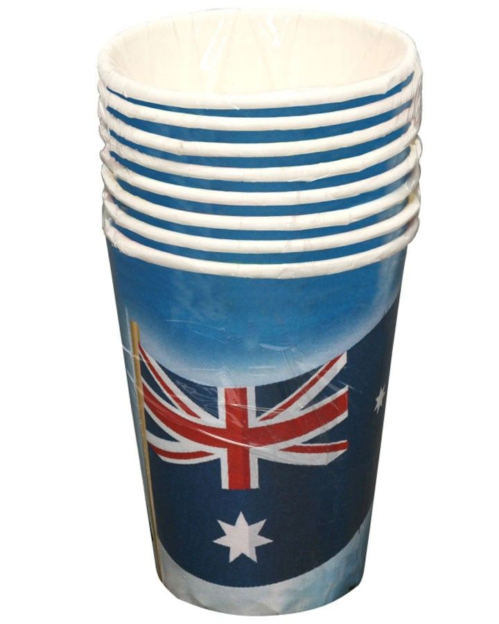 Australian Flag Party Cups Pack of 8