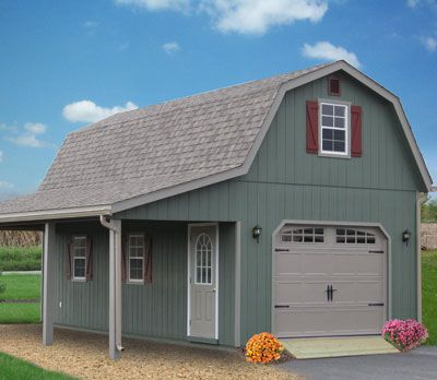 2 story single car garages storage sheds and garages for Playhouse with garage plans