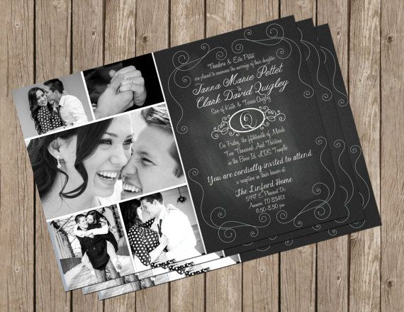 Chalkboard ,Wedding Invitation, Photo, Card, Digital Print, Printable