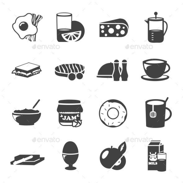 Breakfast Black White Icons Icon Icon Set Black And White