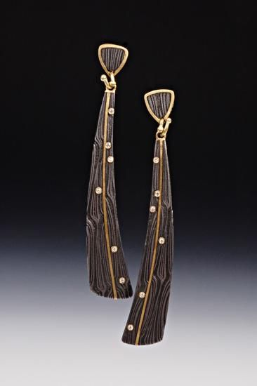 X Triangle Dangle Earrings by Victoria Moore. *Damascus steel*, 18K gold and diamond earrings. 2