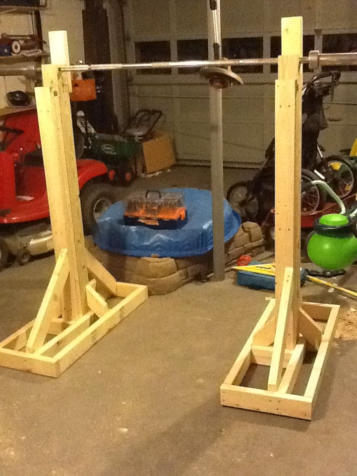 17 best images about wooden squat rack on pinterest for How to make a homemade squat rack