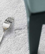 Use a fork to fluff carpet after moving furniture