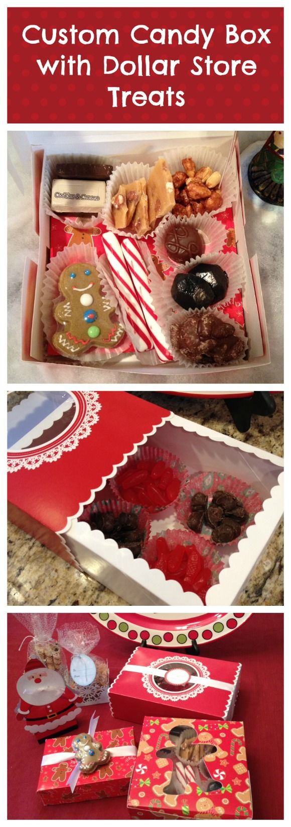 Custom candy gift box with treats from the dollar store - why didn't I think of that?