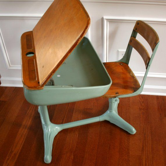 Awesome Home School Is Cool. Vintage Turquoise Aqua Elementary School Storage Desk  And Chair.
