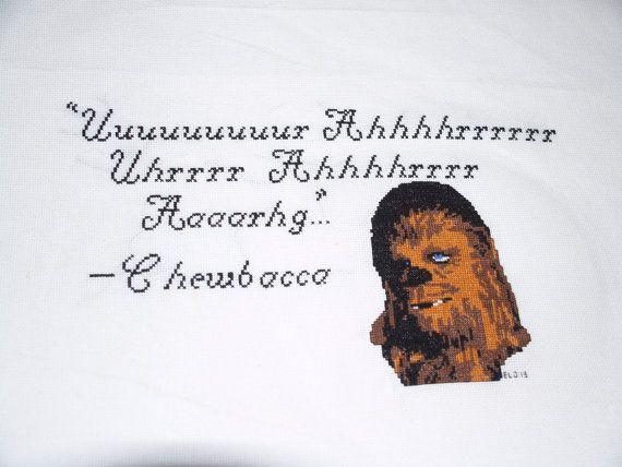 Full pattern for Chewbacca quote pattern, with colors.
