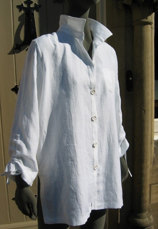 French linen shirt Don't fiddle with rolled up too long sleeves, remove the cuffs, add a length wise facing for ties and ruche them up.