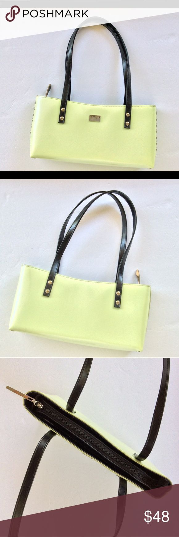 """Beijo Shoulder Bag Lime Green Leather EUC Beijo lime green shoulder bag.  This bag is adorable.  Sturdy black handles with silver hardware dots on sides and bottom.  Beijo silver tone nameplate on front.  Interior has full zippered pocket and two accessory punches.  Also has key ring attached inside.  Full zippered top.  Superb condition, no stains, marks or dents!  Bag is 11"""" long, 5"""" high.  Strap drop is 8-1/4"""" perfect for tucking under your arm. Beijo Bags Shoulder Bags"""
