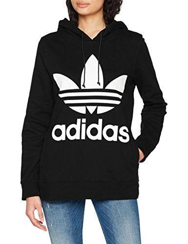 adidas cropped sweat-shirt à capuche femme noir fr pas cher