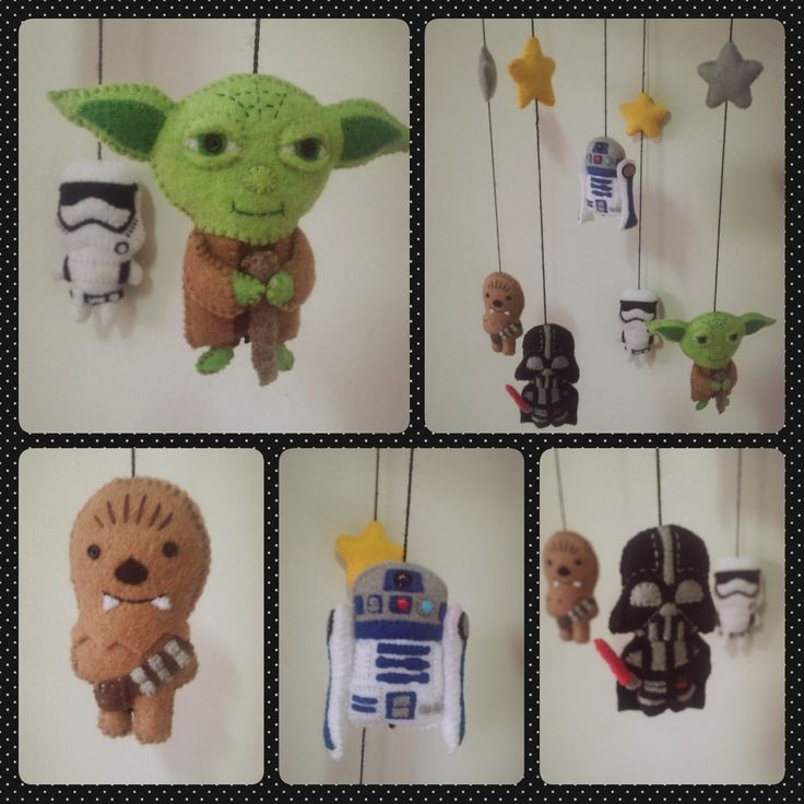 #Star Wars #Baby Mobile #Felt #Yoda #R2D2 #Chewbacca #Darth Vader #Stoormtropper