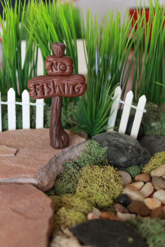 No Fishing Sign - Polymer Clay -  Terrarium Accessory - Fairy Garden - Miniature Garden - Accent - Miniature Sign