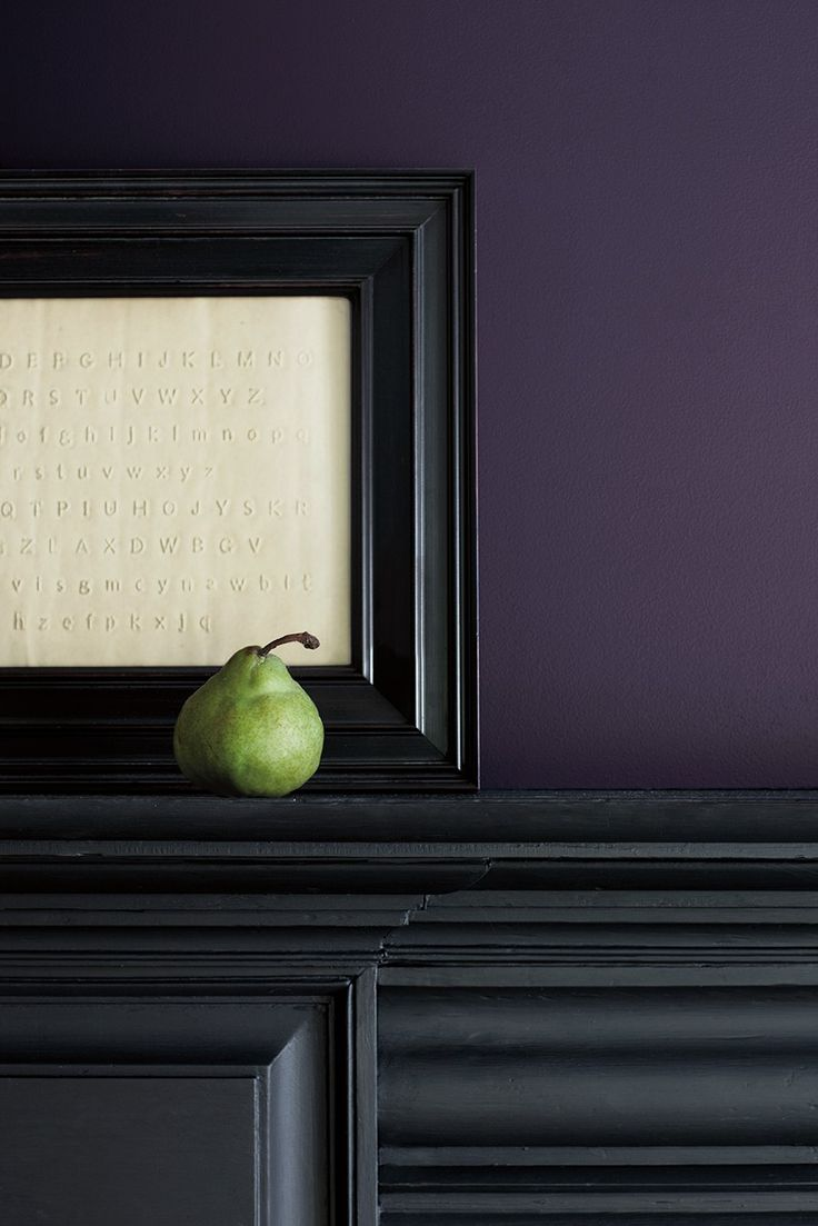 Benjamin Moore's Color of the Year, Shadow 2117-30, a moody purple with brown and gray undertones that take on different dimensions in different lights + AND THE COLOR GREEN
