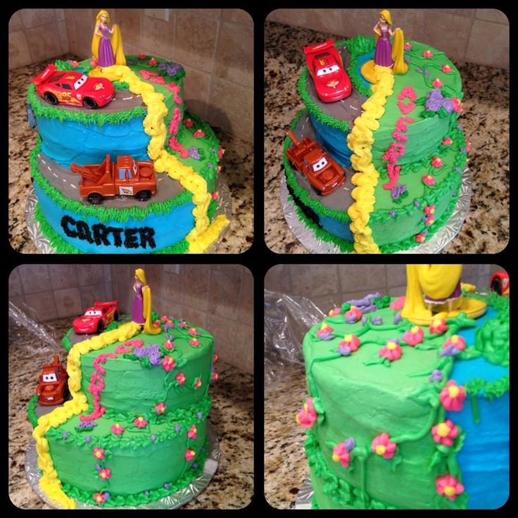 Boy / Girl Twins Birthday Cake (inspired by Pinterest). Rapunzel & Lightning McQueen / Cars. Tangled/ Disney/Pixar.