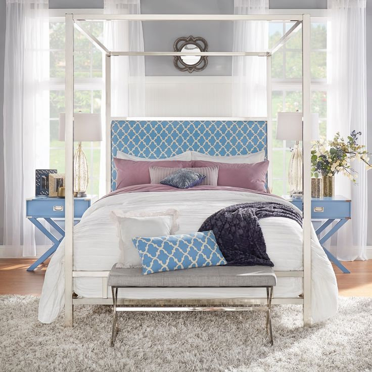 Inspire Q Solivita Queen Size Canopy Chrome Metal Poster Bed