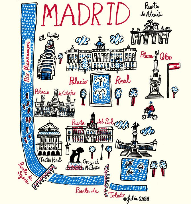 Magnificent Madrid! Julia Gash captures the Spanish capital in all its grandeur in her map like illustration that is both charming and elegant. Little fish swim down river in the Rio Manzanares, which frames Madrid to the west and south and over which span two, beautiful arched bridges: Puente de Segovia and Puente de Toledo. She longs to return but for now her Madrid Cityscape illustration must quench her thirst for this city that's both capital and culturally rich!