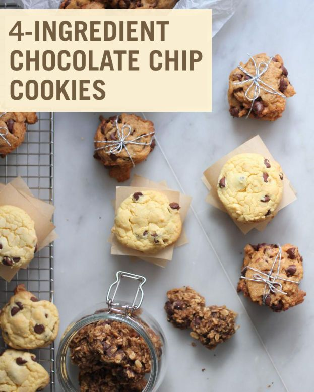 Makes: 1 1/2 dozen cookies    Ingredients:    2 ripe bananas  1 1/2 cups oats (can substitute gluten-free oats)  1/2 cup peanut butter (can substitute any nut butter)  1/4 cup chocolate chips (can substitute dairy-free chips)
