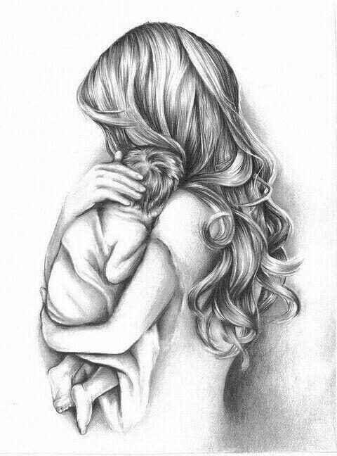 Фото мама и ребенок обнимаются нарисованные карандашом