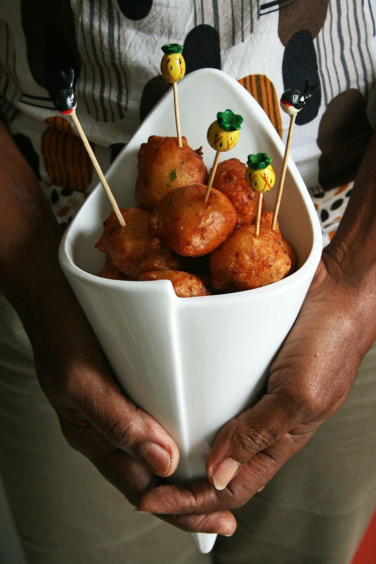 Salt Cod Fritters, a signature dish in Martinique made from a batter of alt fish and spices.