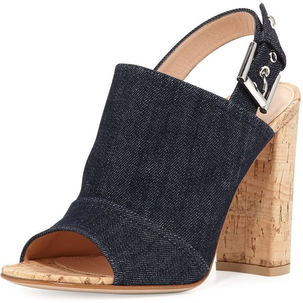 Gianvito Rossi Denim Slingback Cork-Heel Mule Sandal found on Polyvore featuring shoes, sandals, heels, denim, shoes mules, slingback sandals, open toe slingback, open-toe mules, sling back sandals and open toe sandals