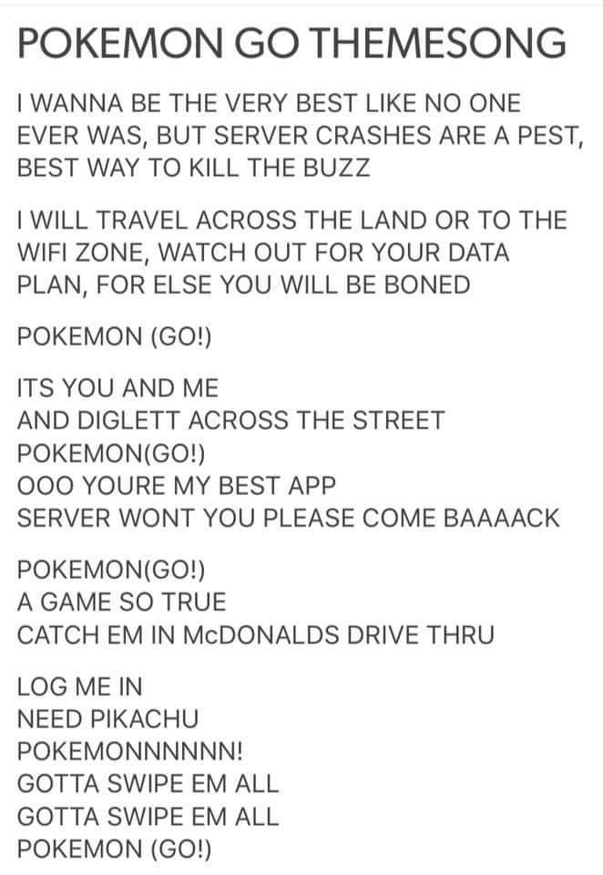 Funny Pokemon Go Themesong! Please oh please servers work!