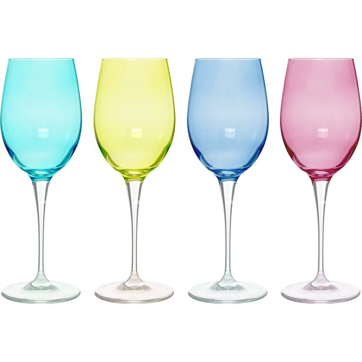 """Franco"" Four Coloured Wine Glasses - TK Maxx"