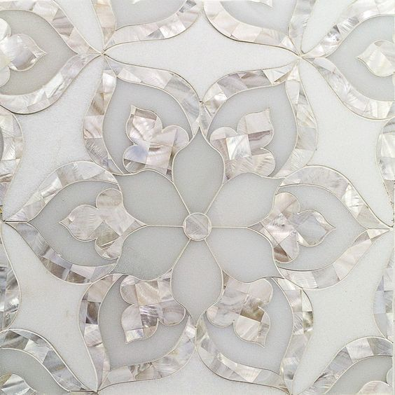 thassos and pearl glass tile-