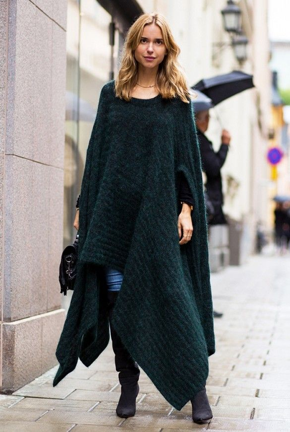 Blanket coat with jeans and over-the-knee boots. #streetstyle