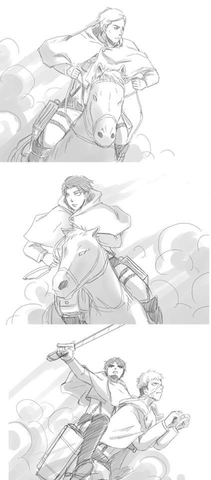 Hahahaha LOL  Levi, Erwin and Eren with their horses xd
