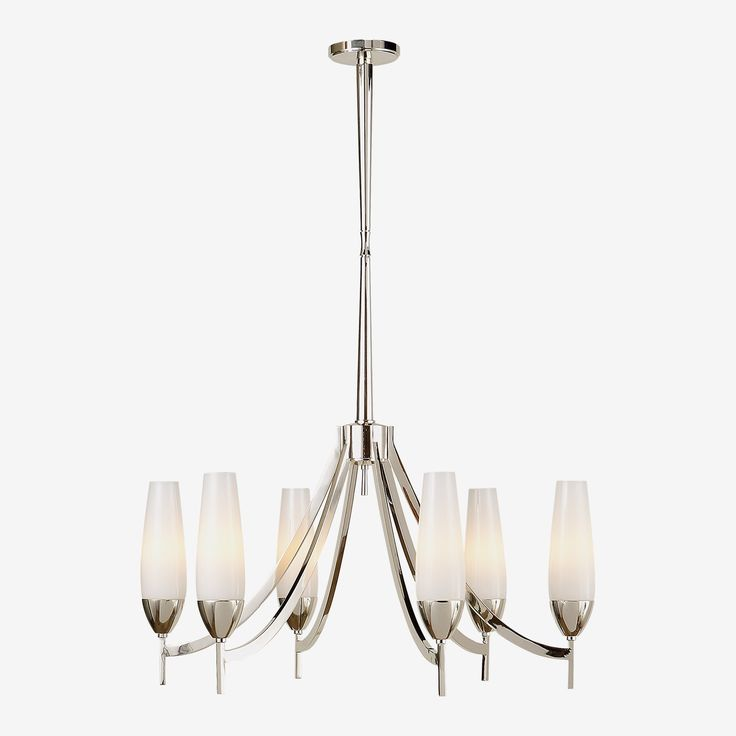 The Bowmont Chandelier in Polished Nickel with White Glass by Barbara Barry • Offering the coveted interior designer aesthetic and crafted from polished nickel and white glass, comes this stunner by Barbara Barry. The Bowmont Chandelier is a classic contemporary option that will give your space some modern appeal, yet offer a grand silhouette.