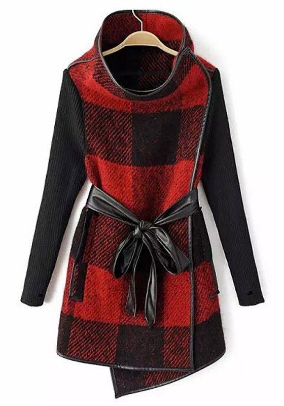 Red Patchwork Plaid Print Wool Coat