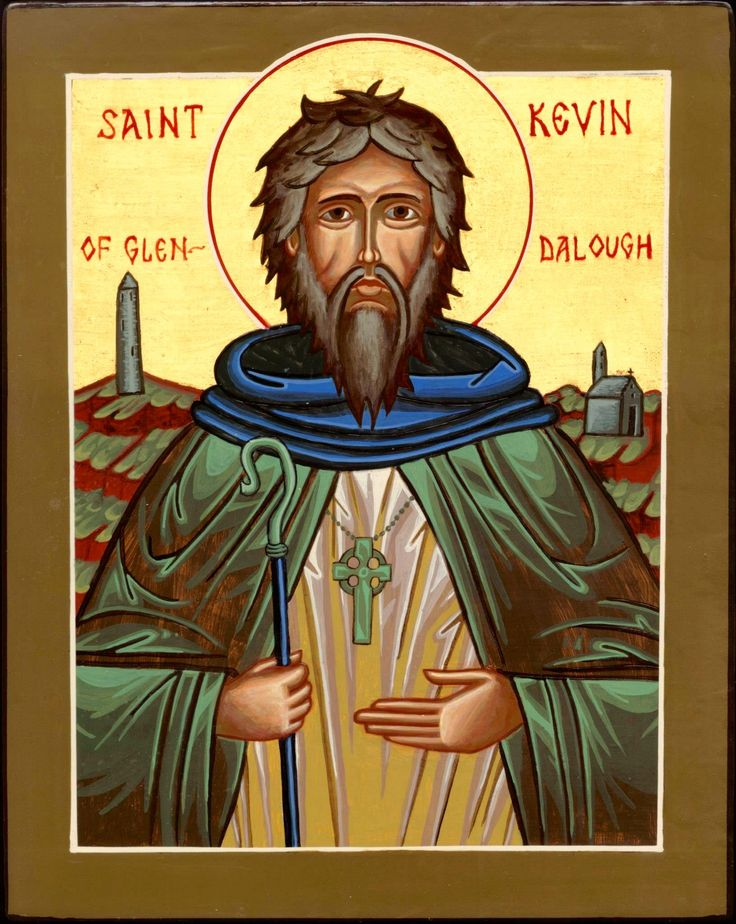 Saint Kevin of Glendalough was the abbot of Glendalough Monastery. He was born in 498, and fell asleep in the Lord in 618 at the age of 120 years. Saint Kevin loved animals and nature, and many of the miracles attributed to him involve them.