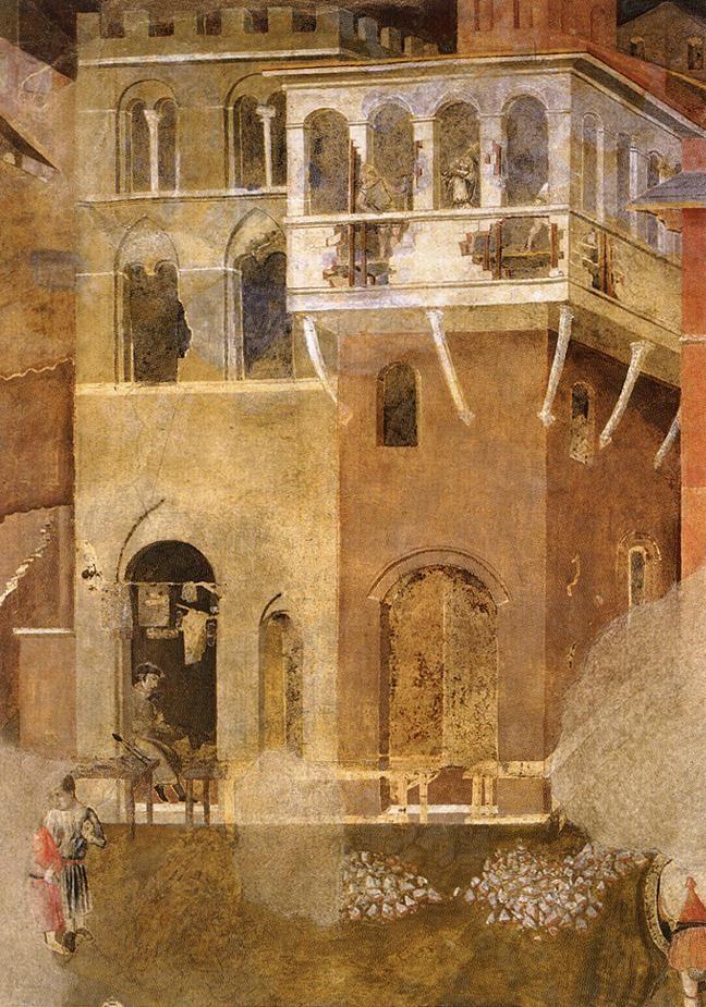 Ambrogio Lorenzetti - Architettura urbana in rovina (Gli Effetti del Cattivo Governo in città) - affresco - 1338-1339 - Siena - Palazzo Pubblico, Sala dei Nove o Sala della Pace