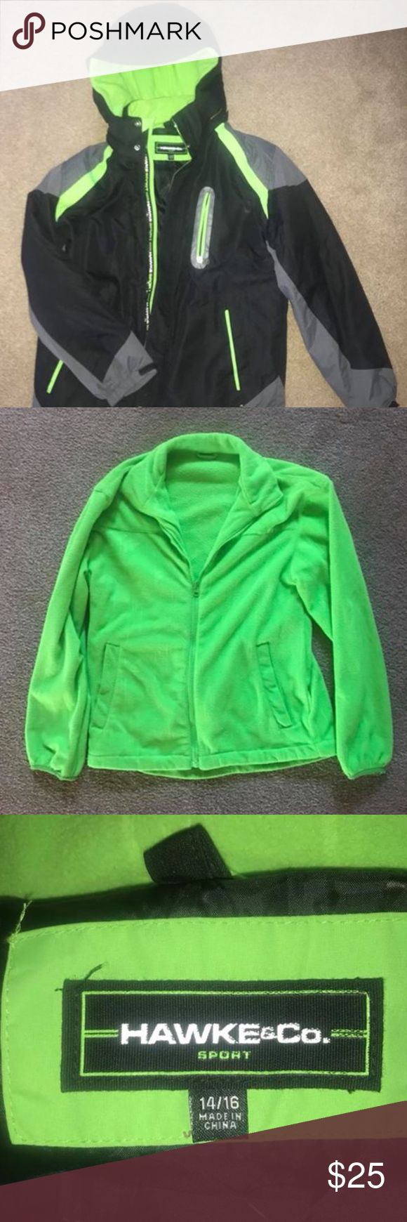 EUC Tony Hawk Boy's Winter Coat - Size 14/16 EUC, barely worn last year - size 14/16 - retails for $60 - asking $25. Comes with a detachable, matching, neon green fleece jacket for underneath. The hood is detachable with a zipper! Comes from a smoke-free home, machine washable! Hawke & Co Jackets & Coats
